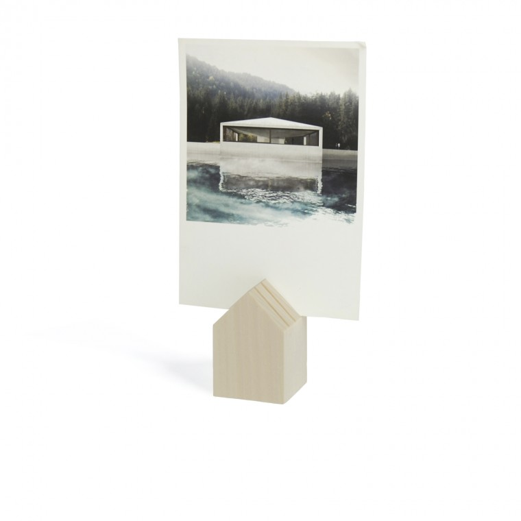 CARD HOLDER IN WOOD NATURAL - TINY HOUSE