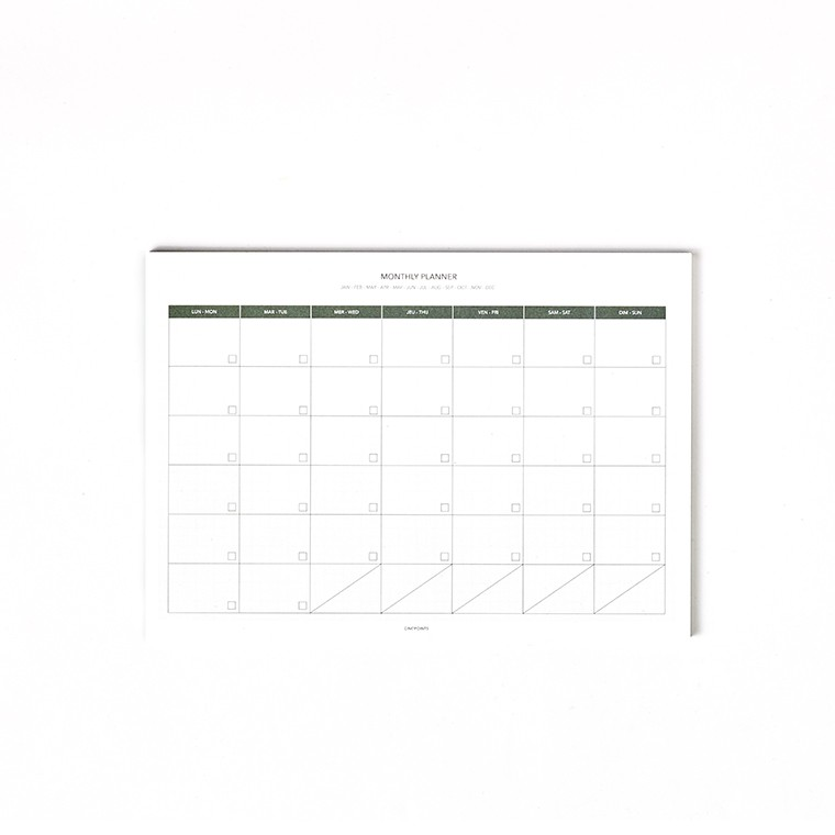 A4 MILLIMETER MONTHLY PLANNER