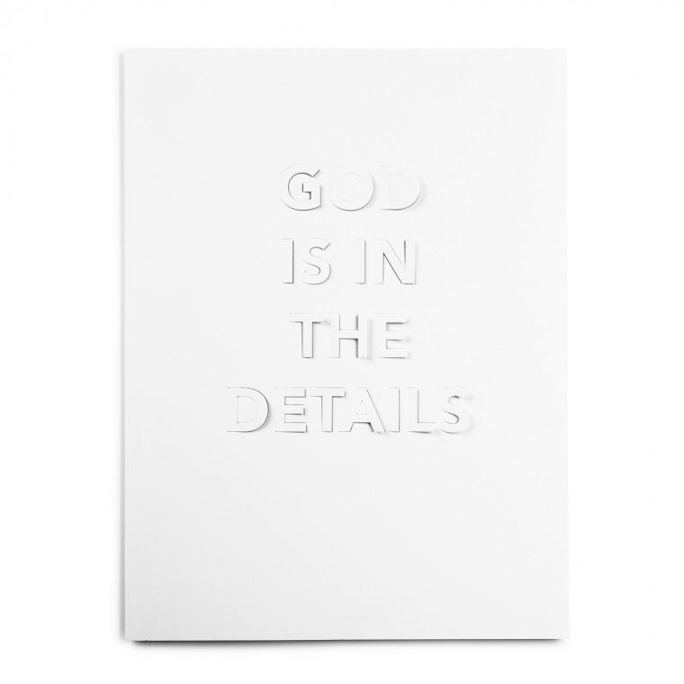 GOD IS IN THE DETAILS WHITE POSTER